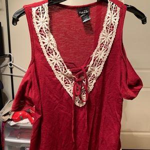 NWOT lace up, cold shoulder short sleeve top